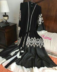 Beautiful white lace black abaya from @Do Buy Abaya instagram