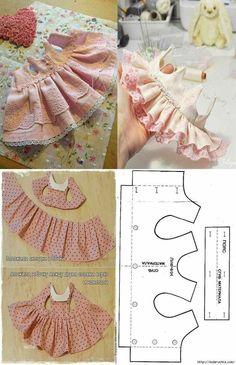 baby doll clothes patron para hacer un ve - clothes Sewing Doll Clothes, Baby Doll Clothes, Sewing Dolls, Pet Clothes, Barbie Clothes, Baby Dress Patterns, Dog Clothes Patterns, Doll Patterns, Sewing Patterns