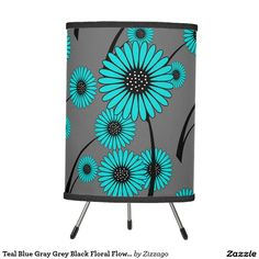 Teal Blue Gray Grey Black Floral Flowers Tripod Lamp