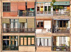 A Barcelona facade, taken from the rooftop of the Casa Mila.   Barcelona, Spain, February 2009.  Taken by Delphine Poggianti