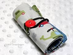 Crayon Storage Case with Vehicles, holds 12 crayons. $11.00, via Etsy.