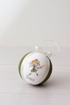 Personalized Christmas ornament, hand embroidered with cross stitch picture  This christmas ornament is made with pure lithuanian linen , decorated with