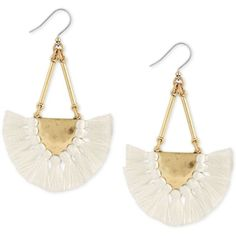 Lucky Brand Gold-Tone Cream Tassel Drop Earrings ($35) ❤ liked on Polyvore featuring jewelry and earrings