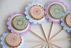 Pastel and Gold Doily Cupcake Toppers by AForestFrolic on Etsy Fluffy Cupcakes, Cinderella Birthday, Golden Birthday, Pretty Pastel, Cupcake Toppers, Doilies, Decorative Plates, Birthday Parties, Sweets