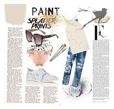 """Splatter Prints"" by luxthrill ❤ liked on Polyvore featuring Lisa Perry, Dsquared2, Kain, Marsèll, Simons, Nicki Minaj, Martha Stewart, splatter, paint and womensFashion"