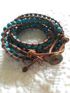 Handmade turquoise blue leather beaded wrap by SweetestWrists
