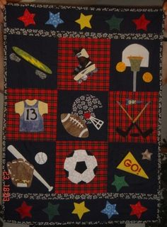 """Applique Sports Quilt by """"brady"""" from the quiltingboard.com"""
