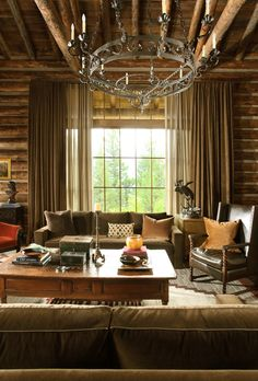 Moose Creek Lodge, Big Sky, Montana by Miller Roodell Architects Spacious Living Room, My Living Room, Home And Living, Montana, Chocolate Brown Couch, Design Rustique, Ranch, Rustic French Country, Rustic Style