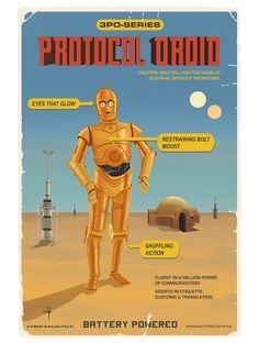 Carteles vintage de R2-D2 y C-3PO