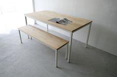226 | 01_Standard furniture Atelier table : W1,500 D800 H720 Atelier long bench : W1,300 D350 H440 Solid ash oil finish / Steel hardening melamine paint