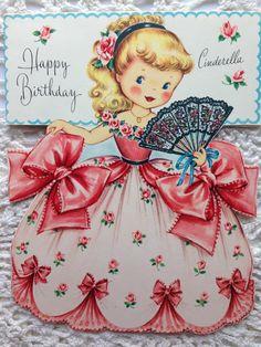 Vintage Fairfield Birthday Greeting Card Girl in Cinderella Like Dress EB5058 | eBay