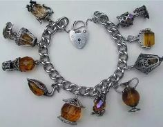 Vintage silver and crystal charm bracelet