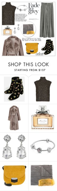 """GRAY AND YELLOW!!!"" by kskafida ❤ liked on Polyvore featuring Étoile Isabel Marant, Yves Salomon, Christian Dior, Kenneth Jay Lane, Pandora, CÉLINE and Cutuli Cult"