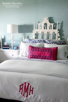 Monogram at the end of the bed | Monogrammed Pillows | Towels | Home D�cor | Dinnerware | China