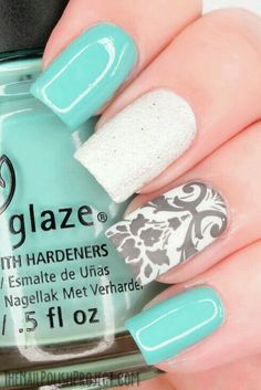 White, light blue and grey design nails