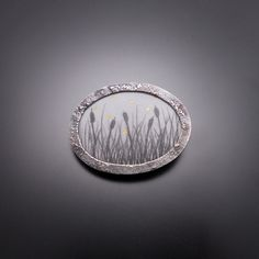 """Summers Ever by Nicolette Absil ~ Sterling silver, copper, enamel, graphite, 24k ~ 2013 1 3/4"""" x 2 1/2"""" x 1/4"""""""