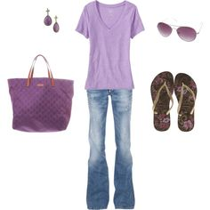 Casual Purple Jeans Outfit, created by ggdesigns on Polyvore