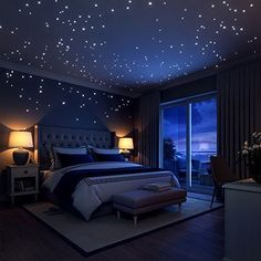 Glow In The Dark Stars Wall Stickers, 252 Dots and Moon for Starry Sky, Perfect For Kids Bedding Room or Birthday Gift, Beautiful Wall Decals by LIDERSTAR, Delight The One You Love. Dream Rooms, Dream Bedroom, Girls Bedroom, Childrens Bedroom, In The Bedroom, Dark Bedrooms, Blue Bedroom, Master Bedrooms, Master Suite