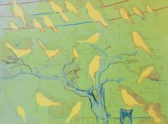 MICHAEL LODERSTEDT Snared (Yellow Birds), 2012 silkscreen monotype  plate size 16 x 1/2 x 23 inches paper size 22 x 27 1/2 inches