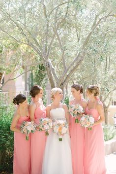 in Guava crinkle silk chiffon Romantic Wedding at Rancho Bernardo Inn Pink Bridesmaid Dresses Short, Amsale Bridesmaid, Brides And Bridesmaids, Long Dresses, Peach Wedding Colors, Pastel Pink Weddings, Peach Weddings, Wedding Flowers, Mod Wedding