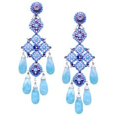 Miguel Ases blue quartz and amethyst chandeliers, E32200  4""