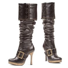 Knee High Boots Adult Shoes includes a wrinkled leather look pair of boots  with fold down button top. This Sexy Shoes feature golden buckle accent  design. e89e7408b441