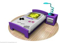 A few fun items for the bedroom: a duvet cover in the style of a Game Boy, a pillow case Game Boy cartridge, a lamp which looks like one that would attach to a Game Boy, and lastly a GameCube bedsi…