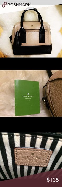 """♠️Kate Spade♠️ Southport Ave Jenny Tote Two tone tan and black leather Kate Spade tote. This bag has a really cute striped lining and is well structured so it keeps its shape easily. Only used about five times and the care card is included. Dimensions are 11"""" high and 11"""" wide. kate spade Bags Totes"""
