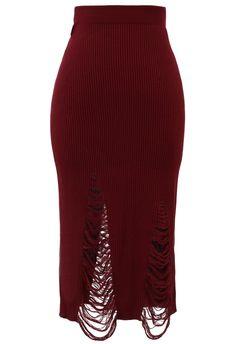 Shredded Knit Skirt in Red