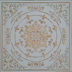 PL18 Faux tin white gold 3D ceiling tiles restaurant decor wall panels10tile/lot