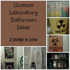 Fun ways to decorate a bathroom with a science laboratory theme by 2 Dorks in Love
