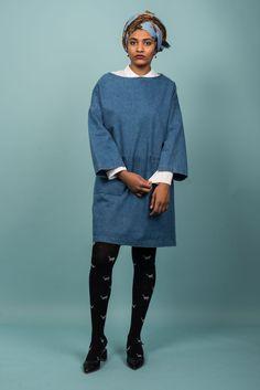 New Barena Venezia Eufemia Woven Blue Dress