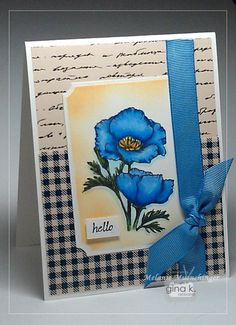 Coloring Blue Flowers with Spectrum Noir Markers - stampTV card created my Melanie Muenchinger
