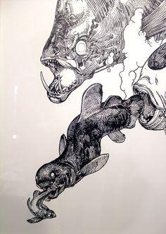 Katsuya Terada Spiral No 5 Terra's black Marker at the Compound Gallery in Portland Oregon