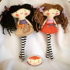 Handmade dolls ragdoll fabricdoll Brown hair black hair