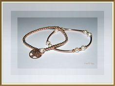 Bracciali in Argento 925 rosato con perle d'acqua dolce