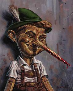 PInocchio by Jason Edmiston Zombie Disney, Disney Horror, Disney Films, Cartoon Kunst, Comic Kunst, Cartoon Art, Cartoon Characters, Comic Art, Arte Horror