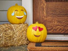 Make This: Emoji Pumpkins | HGTV >> http://www.hgtv.com/design-blog/how-to/creative-pumpkin-projects-to-copy?soc=pinterest