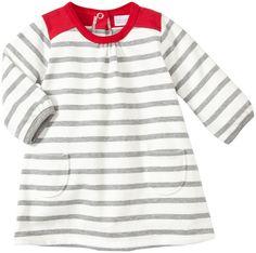c7e26c38f1bfa Petit Bateau Striped Dress with Pockets (Baby) - Grey White Red