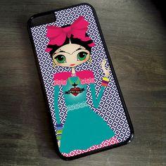 Pequeña Frida Kahlo mexicana tradicional vestido negro iPhone 7 6 5 4 tapa iPhone 6s más caso Samsung Galaxy S4 S5 S6 S7 borde