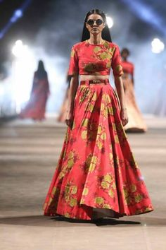 Honeymoon outfit | Floral Maxi skirt by Sabyasachi | Lakme Fashion Week Summer Resort 2015 |