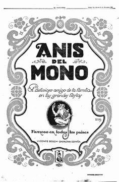 """""""El delicioso amigo de la familia en las grandes fiestas"""" Así se definía #AnisdelMono en este #anuncio antiguo grabado a mano para la #prensa escrita"""