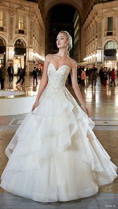 eddy k milano bridal 2017 strapless sweetheart embellished bodice tiered skirt ball gown wedding dress (md200) mv