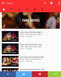 FirstCut  offering most popular Tamil cinema has released as many as 5000 Tamil films since its conception add list of all your favourite Kollywood Movies. Look up for the trailers and music videos of the latest Tamil releases, trivia about popular Tamil movies - all sorted according to genres such as Family, Action, Romance, Suspense, Drama etc. And do stay updated with Tamil movies show times, ratings, reviews, news updates and more only at getfirstcut.com