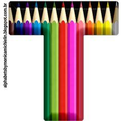 Printable Alphabet Letters, Letter Symbols, Letter Art, Alphabet Fonts, Abc School, Back To School, Crayon Decorations, Color Wheel Projects, Crayon Canvas