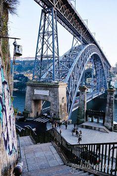 Portugal - Porto - Bridge to Escadas Do Codeçal Portugal Vacation, Portugal Travel, Visit Portugal, Spain And Portugal, Algarve, Pont Paris, Porto City, Take The Stairs, World Heritage Sites