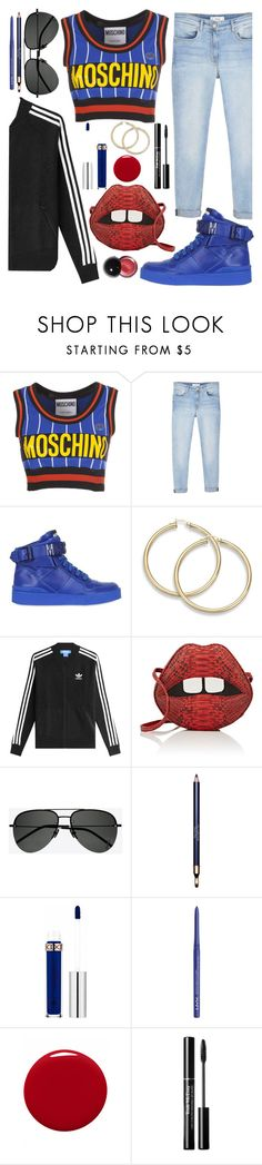 """Untitled #129"" by callyfordham ❤ liked on Polyvore featuring Moschino, MANGO, adidas, Gelareh Mizrahi, Yves Saint Laurent, Clarins, NYX and Givenchy"