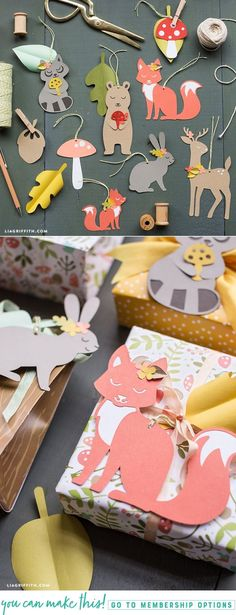 Create a set of easy papercut woodland gift tags - Lia Griffith - www.liagriffith.com #paper #papercut #paperart #paperlove #giftwrap #diygifts #diygift #diygiftwrapping #madewithlia
