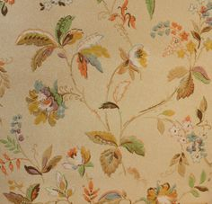 Vintage Wallpaper by the Yard - Antique Floral Wallpaper with Blue Orange Green and Gold French-style Flowers and Leaves