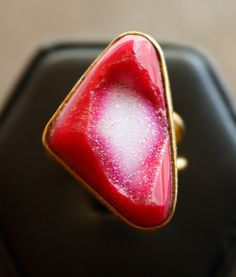 Hot Pink Druzy Ring  Triangle Ring  Adjustable ring One by OhKuol, $40.00